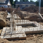 Foundation at the Greensville branch construction site.