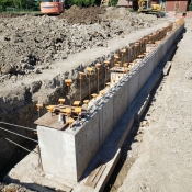 Valley park branch construction outside foundational wall pictured