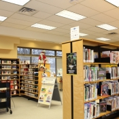 A customer browses through the shelves in the Freelton branch