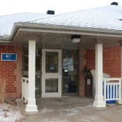 Snowy view of the Freelton branch front entrance