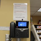 A look at the video help phone at Freelton Branch