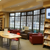 Casual seating area of the Freelton Branch, in front of a large bay window