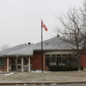 A snowy view of the front of the Freelton Branch from the street