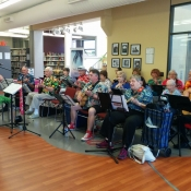 A band playing and singing some songs at Sherwood branch for 100In1Day