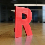 photo of a 3d printed letter R