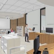 Inside the new Carlisle branch desks are pictured