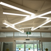 Inside the entrance of the new Greensville branch light fixture