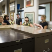An HPL staff member conducting a tour of the local history archive's
