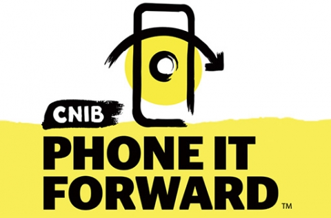 CNIB Phone it Forward. An image of a cell phone with a yellow background.