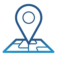A blue pin on a map
