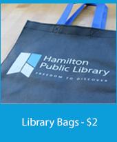 Closeup of a reusable library bag