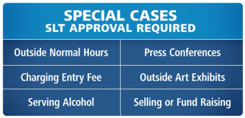 Special cases SLT approval required. Outside normal hours, press conferences, charging entry fees, outside art exhibits, serving alcohol, selling or fund raising.