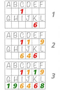 Grids with Numbers, letters and words in them