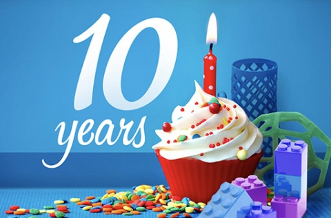 Turner Park turns 10. An image of a cupcake with one candle and 3d printed objects surrounding it with the text 10 years.