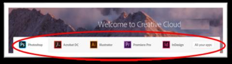 Adobe app selection window.