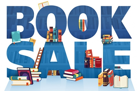 Blue text reading Book Sale with books and other library materials scattered around