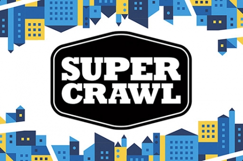 Super Crawl text with blue and yellow buildings on the top and bottom of the image