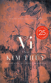 Cover of the book Vi by Kim Thuy. From the bestselling author of Ru. Book cover is red in colour and has elements of palm trees and birds in the background.