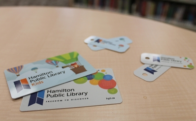 Closeup of  library cards