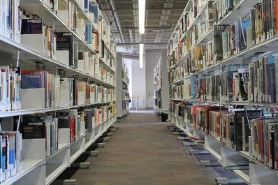 Receding stacks of books