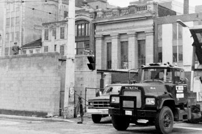 Concrete bunker buildings start going up