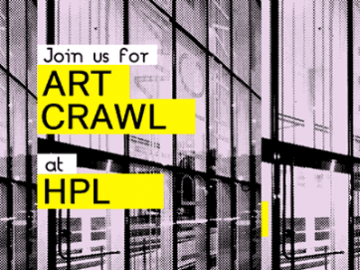 text join us for art crawl at hpl with stylized background of central library