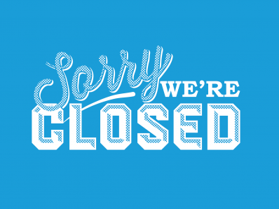 stylized text of sorry we're closed