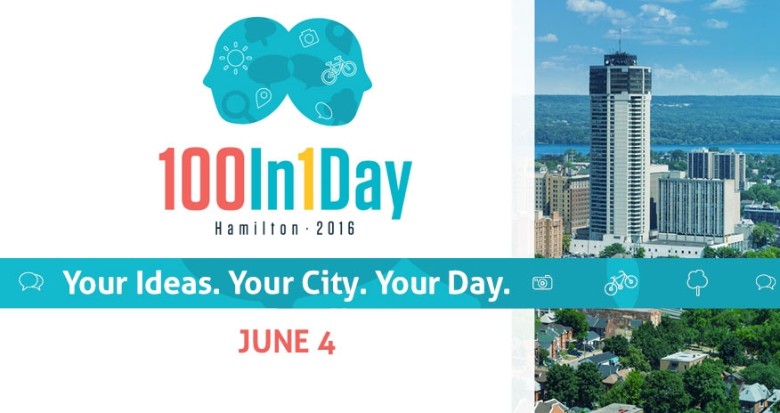 image of downtown hamilton with text 100in1day hamilton 2016