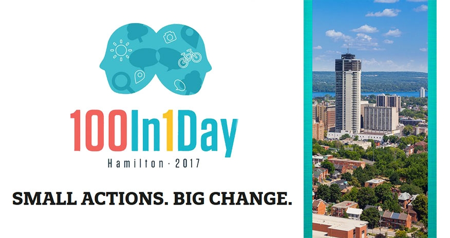 text 100in1 day hamilton 2017 samll actions big change and image of hamilton downtown