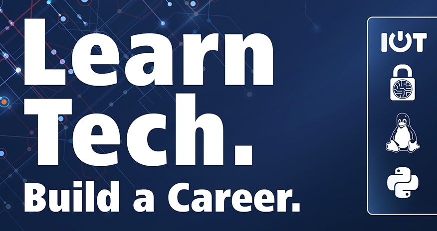 Learn Tech, Build a Career. Python, Internet of things and Linux logos.