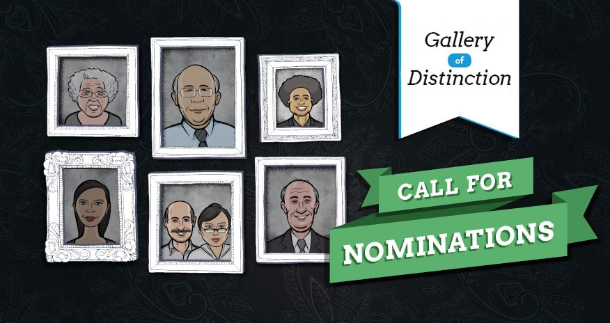 graphic of  images in frames with text Gallery of Distinction Call for Nomination