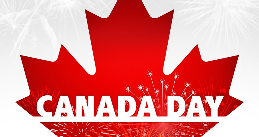 Canada Day. White background with red maple leaf
