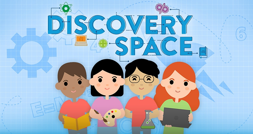 graphic of children wit text Discovery Space
