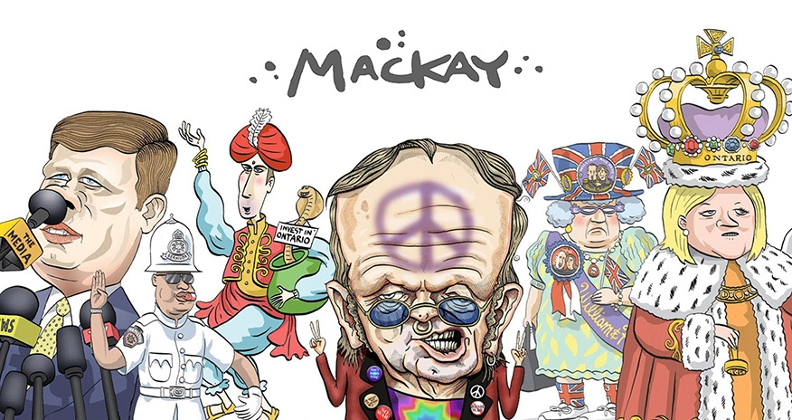 a collage of Graeme Mackays drawings depicting various political figures