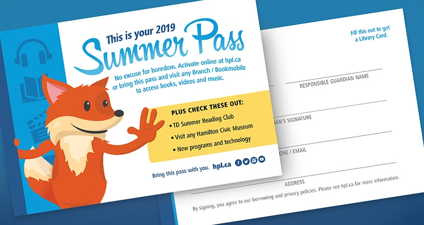 An image of the 2019 HWDSB Summer pass available at HPL