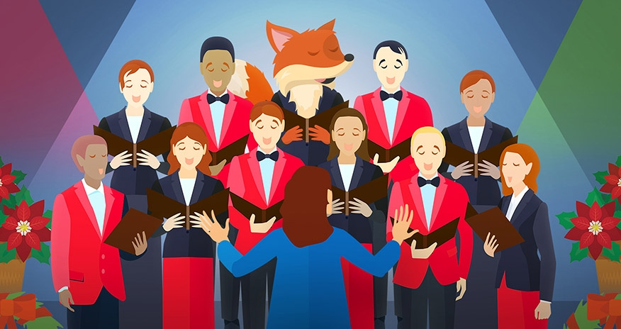 graphic of a choir singing with a fox in the middle