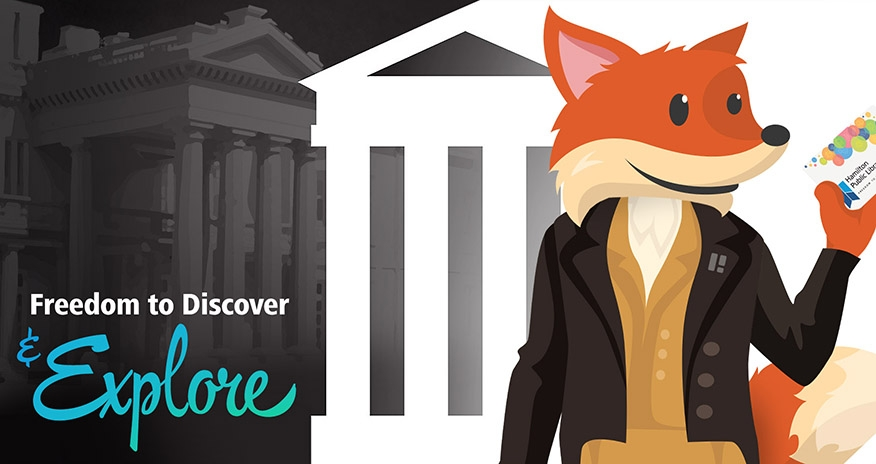 HPLs mascot Scout pictured with a museum and dressed up with the text Freedom to Discover and Explore