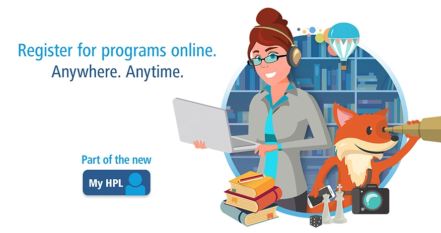 graphic of scout and a female holding a laptop with text register for programs online