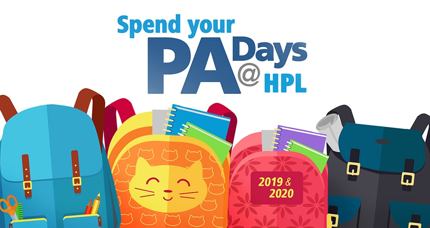 Multiple coloured backpacks and the text PA Days