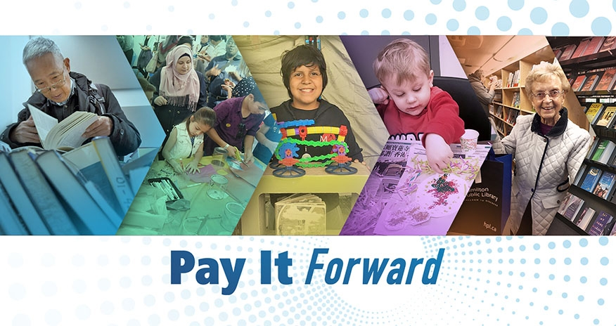 Pay it forward text with library members behind.