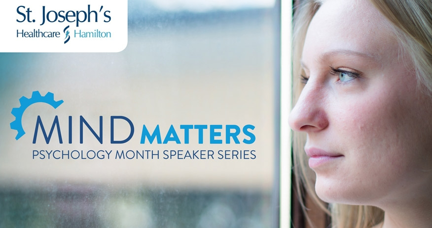 photo of female looking at a window with text st josephs and mind matters psychology month speaker series