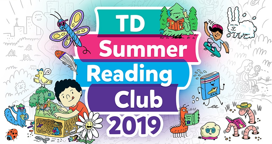 A collage of various animated children and cartoon characters with the text TD Summer Reading Club 2019
