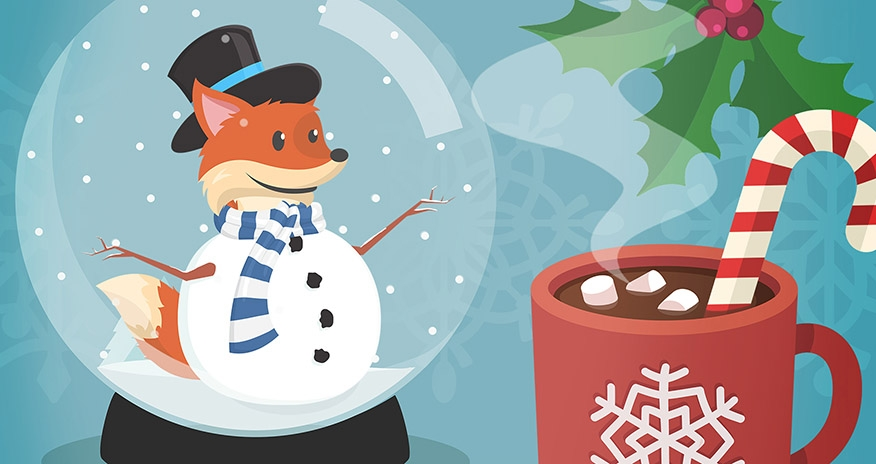 Scout in a snow globe with a mug of hot chocoloate