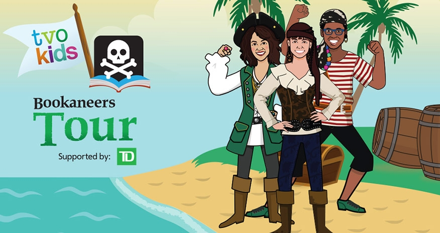three pirates on an island with text tvo kids bookaneers tour