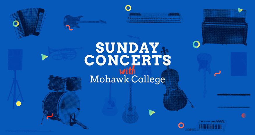 background of different musical instruments with text sunday concerts with Mohawk