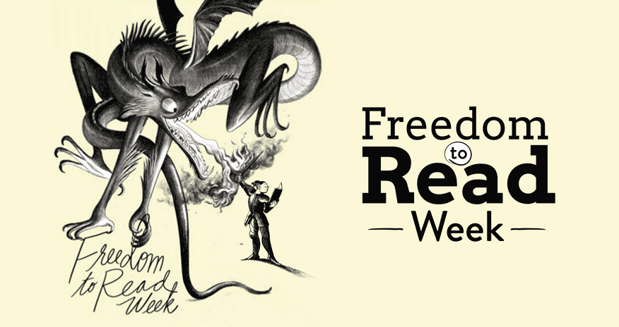 illustartion of a man fighting a dragon while reading a book with text freedom to read week