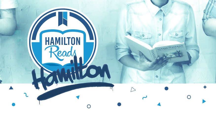 logo with text hamilton reads hamilton and a person holding a book