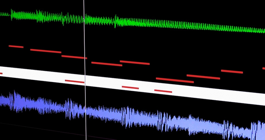 a photo of a Screen display of a multi-track digital audio recording system showing wave and MIDI data.