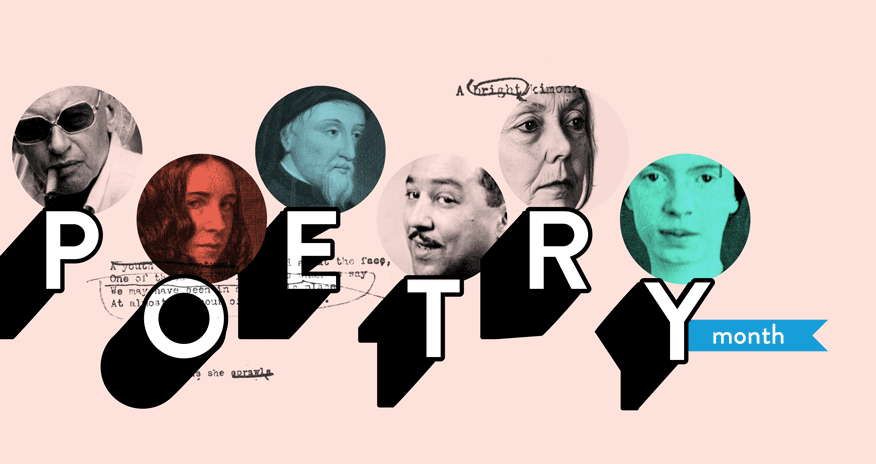 collage of imags of different poets with text Poetry Month